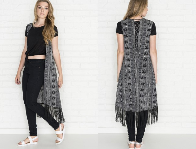 ardene black and white print fringe vest